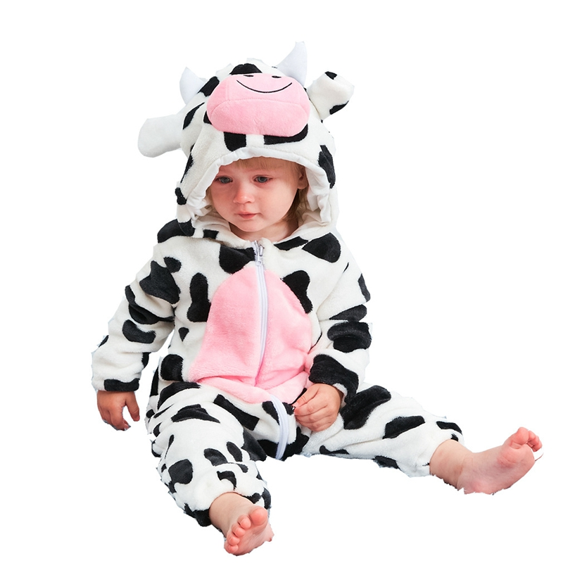 Newborn Infant Toddler Cartoon   Rompers   Fashion Warm Hooded Cow 3D Animal Jumpers Warm Winter Boy Girl Jumpsuit Bebes Kid Clothes