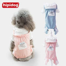 Купить с кэшбэком Hipidog 2018 New Jumpsuit Pet Dog Clothes Spring And Summer Lace Hoodies Cute Cotton Coat for Teddy Chihuahua Small Dogs