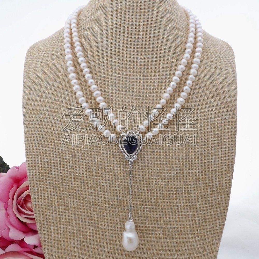 N091309 20'' 2 Strands White Pearl Necklace CZ Pendant 20 23 7 strands green stone necklace cz pendant