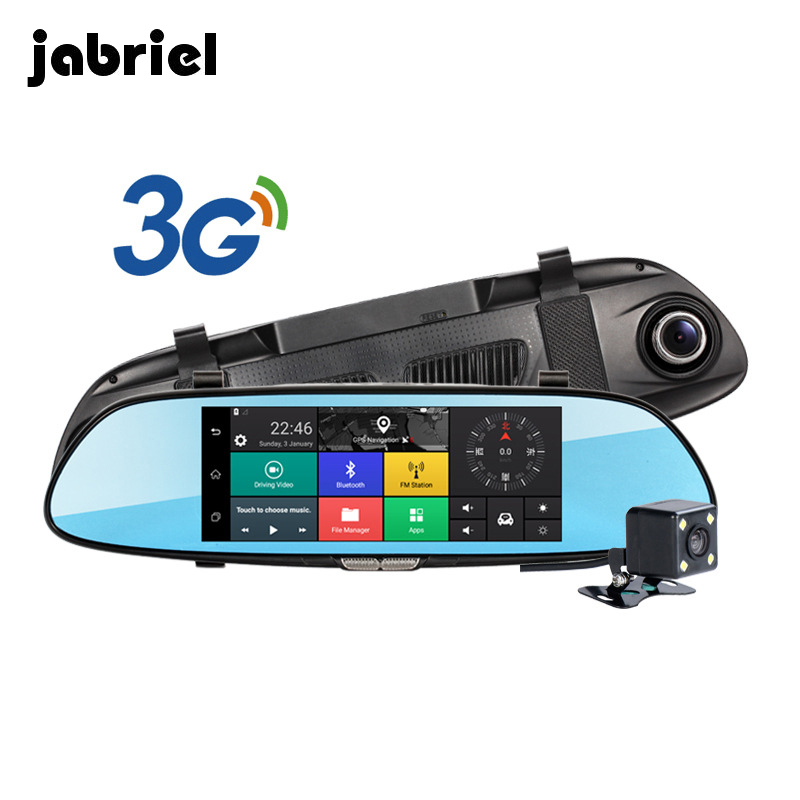 Jabriel Android 3G Car DVR 7 Wifi Auto Rear View Mirror Dash Camera Full HD 1080P GPS Navigation Video Recorder Dvr Dual Camera