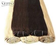 """Neitsi бразильский Реми Прямой Clip в волос на 100% Пряди человеческих волос для наращивания 22 """"110 г 7 шт. 14 Зажимы 6 цветов двойной Рисованные Клип Ins"""