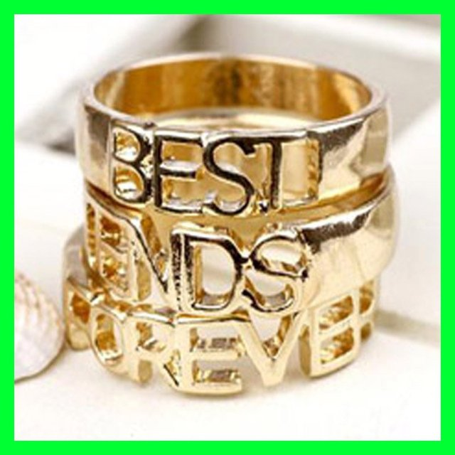Best Friend Forever Ring BFF Vintage Fashion Jewelry 2013 Hot Sales Great Gift Free Shipping Wholesale Lot 3PCS/Set