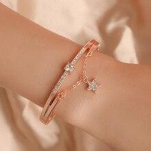 Элегантный Золотой Серебряный цвет звезды браслет-кафф с кристаллами для женщин/мужчин шарм браслеты и Модная бижутерия браслеты Bijoux лучший подарок