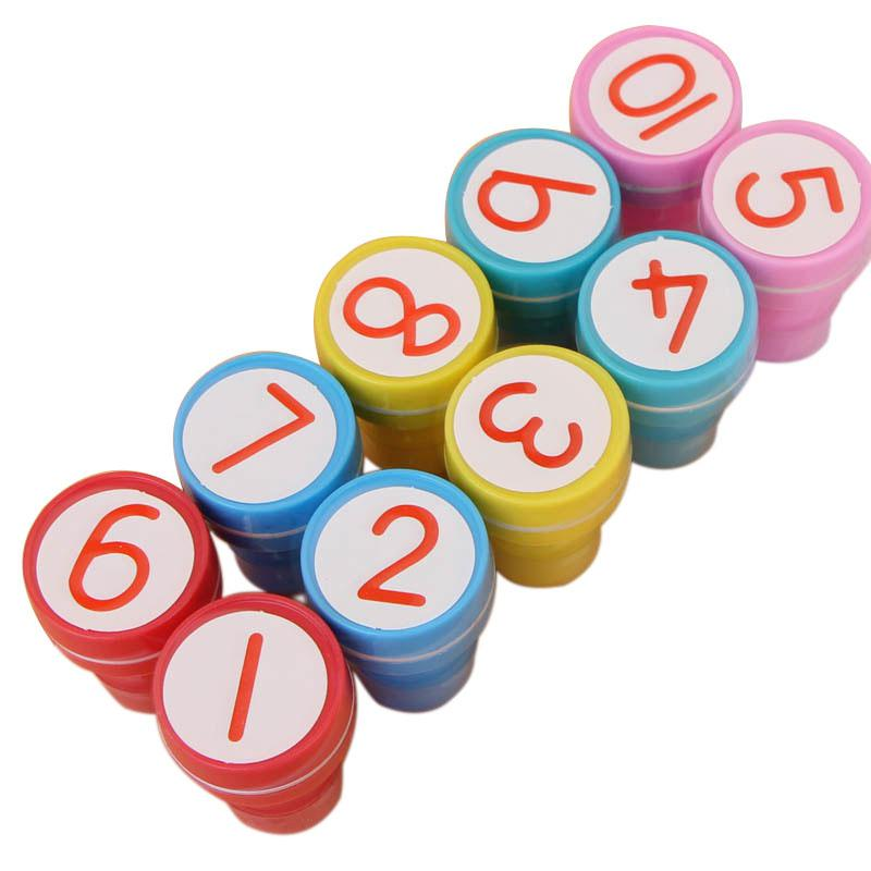 Adeeing 10 sets 1-10 Numbers Rubber Stamp Set Kids Cute Plastic Self Inking Stamper Toys Baby DIY Crafts 10 digit 9 wheels gray light blue rubber band self inking numbering stamp
