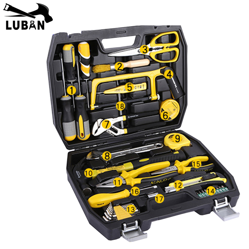 LUBAN 39Pcs Hand Tool Set General Household Hand Tool Kit with Plastic Toolbox Storage Case Hammer Plier Screwdriver Knife saw