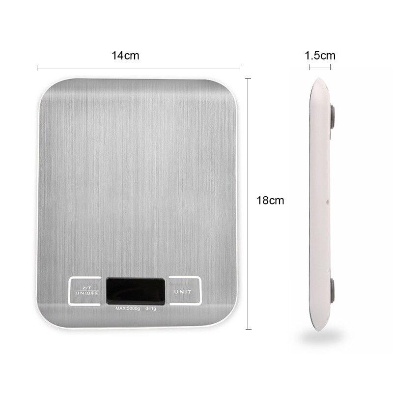 Серебряный цифровые весы 5 кг/10 кг/1g шкала веса Нержавеющаясталь весы Электронные измерительные инструменты светодиодный Дисплей Кухня весы-1