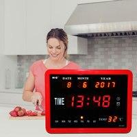 Очень большой Экран цифровой будильник День часы 8 сигналы тревоги вариант Календари неделю время Температура Disply часы настольные часы