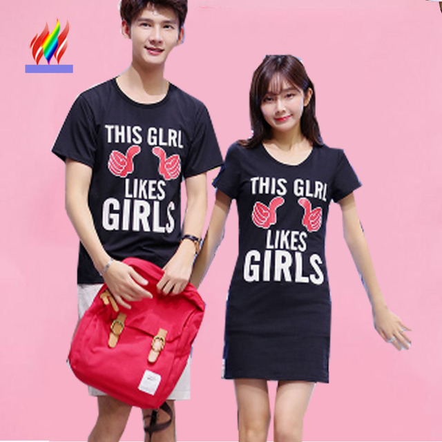a0a67512a6e40 2016 Couple Clothes Lovers Hot Selling Cute Sweet Tops Slim Letter Printed T -Shirt Black White Korean Matching Couple T Shirts