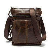 Genuine Leather Brand Shoulder Bags Men Crossbody Bag Designer Natural Cowhide Shoulder Bags Vintage Small Square