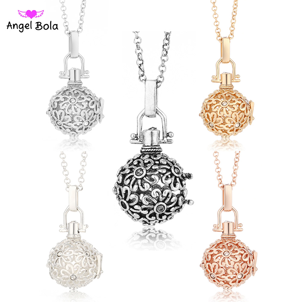 20.5mm Angel Bola Pendant Essential Oil Necklace Music Ball Crystal Inlaid Jewelry for Women Statement Diffuser Necklaces NL046