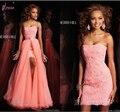 Сердечком без рукавов высокая низкая элегантный белый розовый кружево ну вечеринку платье выпускной пром мяч официальный вечернее платье макси