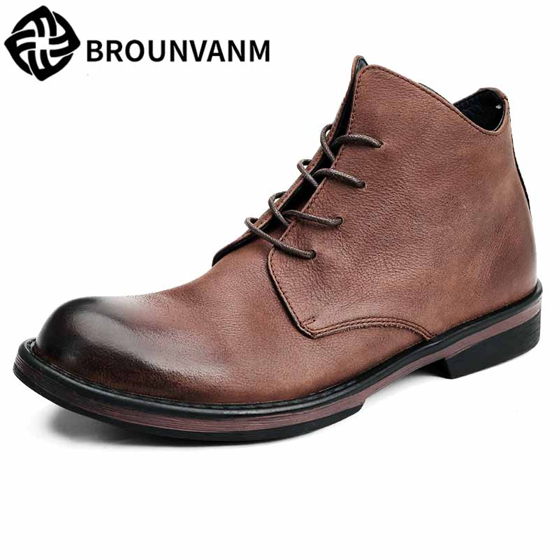 Men s Riding casual boots new Genuine Leather British all match cowhide youth Chelsea boots autumn