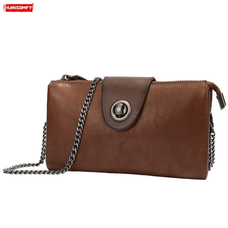2019 nouveau vintage en cuir véritable femmes sac à bandoulière sac de téléphone mobile femme serrure en bandoulière petite pochette mini chaîne messenger sac