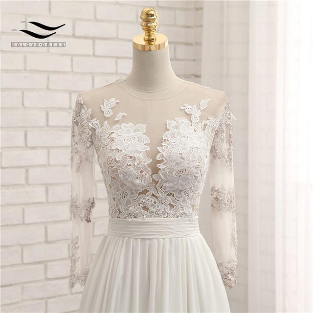 Appliques Sexy V-neck Chiffon Chapel Train Long Zipper Lace A Line Beach Wedding Dress Long Sleeves Bridal Gown SLD-W593