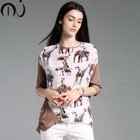 MJ Femal Классический Топ Натуральный шелк атласный шелк Charmeuse свободные круглым вырезом в стиле пэчворк животного характер печати Для женщин