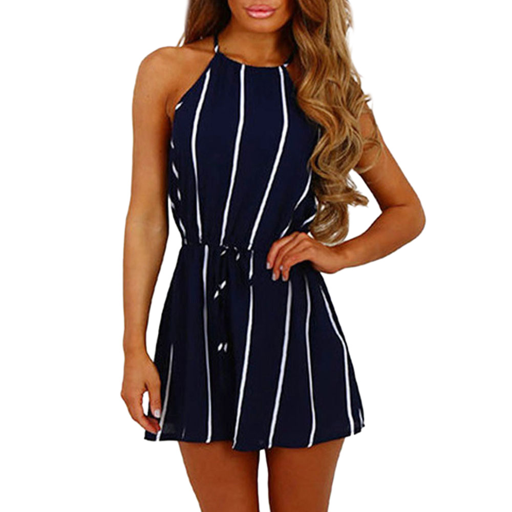 Women Romper Stripe Printing Off Shoulder Sleeveless Rompers Bandage Jumpsuit Playsuit Overalls Summer Beach Body Mujer 2020