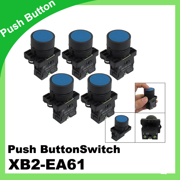 5 x 22mm 1 NO N/O Blue Sign Momentary Push Button Switch 600V 10A ZB2-EA61