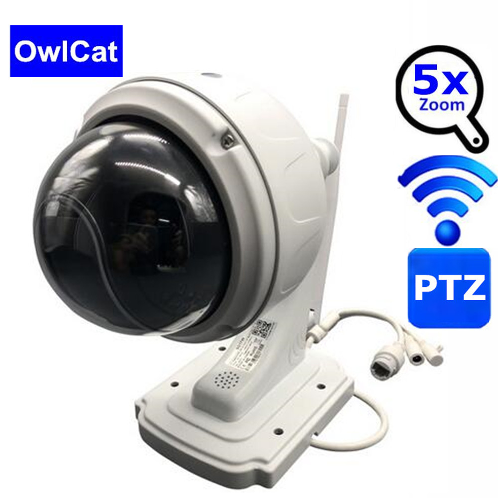 OwlCat Wifi IP Camera PTZ Speed Dome 1080P Outdoor 5X Zoom Onvif Wireless Security Surveillance Camera IR Two Way Audio SD CardOwlCat Wifi IP Camera PTZ Speed Dome 1080P Outdoor 5X Zoom Onvif Wireless Security Surveillance Camera IR Two Way Audio SD Card