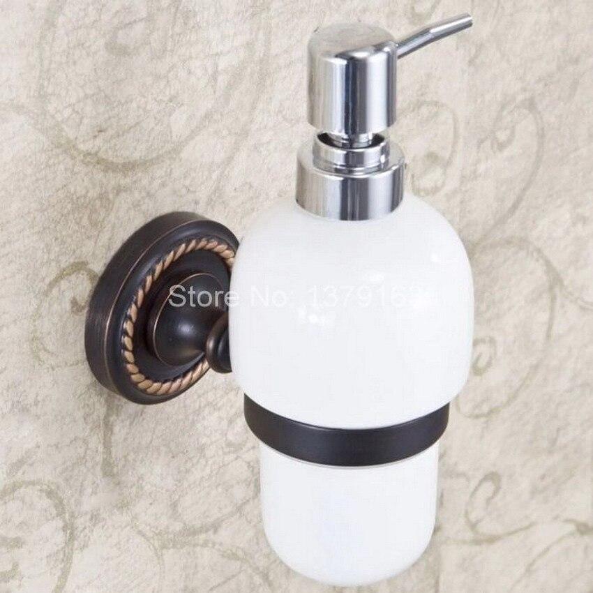 Modern Wall Mounted Kitchen Bathroom Sink Basin Accessory Oil Rubbed Bronze  Porcelain Soap Dispenser Aba218(