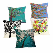Oil Tree Pirnt Cushion Cover  Linen Pillow Case Cartoon  Cushion Case Home Decorative Pillow Cover for Sofa Cojines 43x43cm