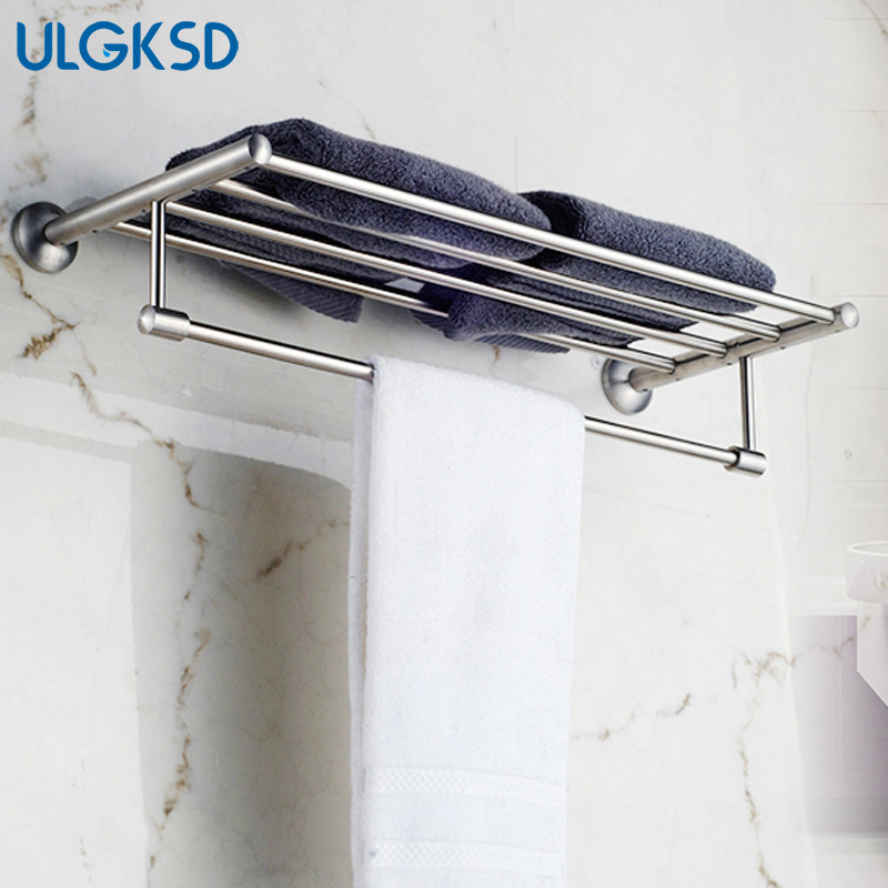 Ulgksd Bath Towel Rack Wall Mounted Towel Holders Solid Brass Nickle Bathroom Accessories Towel Hanger for Kitchen for Towel free shipping wall mounted brass door stopper suitable for interior doors door holders for sale high suction 356g
