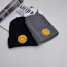 2016 Top Fashion Cotton Acrylic Adult New Hat Female Winter Embroidery Smiling Face Keep Warm Knitted Bonnet Beanie And Hats