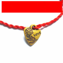 Sansour 1PC Decent Heart Leaf Animal Lock Lovers' Braided Red Rope Bracelets Valentine Gift Fashion Jewelry(China)
