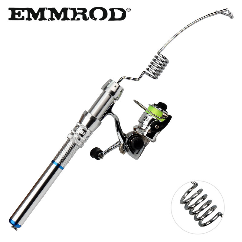 EMMROD Mini ICE Fishing Rod Boat Ice Winter Fishing Rod With XM100 Spinning Fishing Reel Fishing Tackle set De Pesca IZ XM