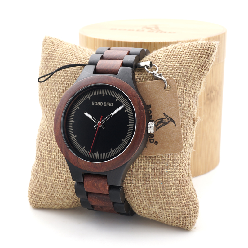 BOBO BIRD E/O01 Red Sandalwood Unique Analog Watch Men's Top Brand Luxury Wristwatch Lightweight With Wood Box bobo bird mens watch red sandalwood analog wooden quartz wrist watches with luxury watch famous brand in gift box free shipping