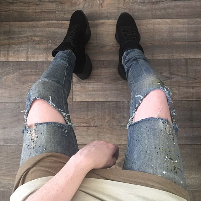 2016 Mens Jeans New Arrival Thunderstar Straight Full Length Holes Painted Ripped Solid Denim Pants HX4