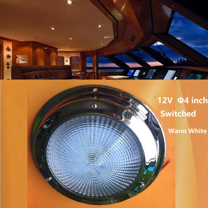 """12v DC LED Ceiling Light 4"""" interior Down Lamp for Yacht Boat Marine Cabin Roof lighting Sea Drive RV Camper Travel Trailer Warm