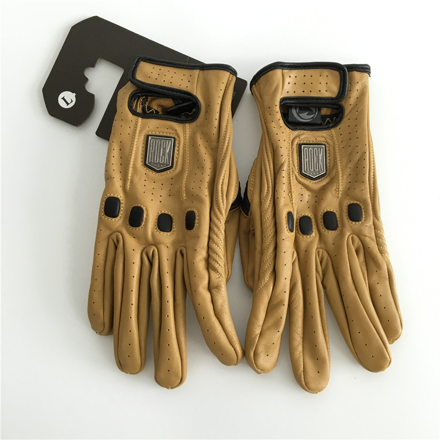 HOT Genuine Leather Motocross glove style men Summer Cruiser Chopper Scooter Cafe Racer Motorbike glove Retro