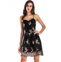 CAYA BOX Summer 2017 Women Black Backless Little Sequin Dress Pretty Ting Cross Mini Sexy Dresses Women Clothes