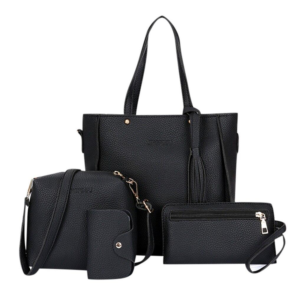 Women Handbags 4pcs Women Solid Retro Hand Bag Solid Color Shoulder Bag 2019 New Design Shoulder Messenger Bag Wallet Handbags
