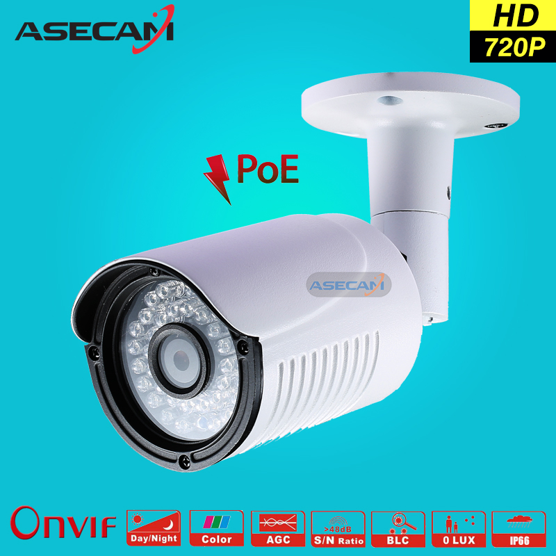 Asecam HD 720P IP Camera CCTV Infrared 48V POE White Bullet Metal Waterproof Outdoor Onvif WebCam Security Surveillance p2p wistino white color metal camera housing outdoor use waterproof bullet casing for cctv camera ip camera hot sale cover case