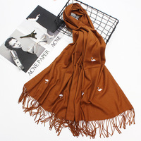 Women Thin Cashmere Scarf Flamingos Embroidery Shawl Pure Color Tassels Warm Winter Soft Scarves Brand NEW