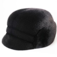 2019 new men mink fur hat New Fashion Men's Artificial Mink Fur Winter Warm Hat / Cap Flat frosted Hat 2016 hot selling lady s the new mink fur mink hat knit cap children winter thickening warm winter hat free shipping 3color sd21