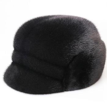 2020 new men mink fur hat New Fashion Men's real Mink Fur Winter Warm Hat / Cap Flat frosted marten fur Hat