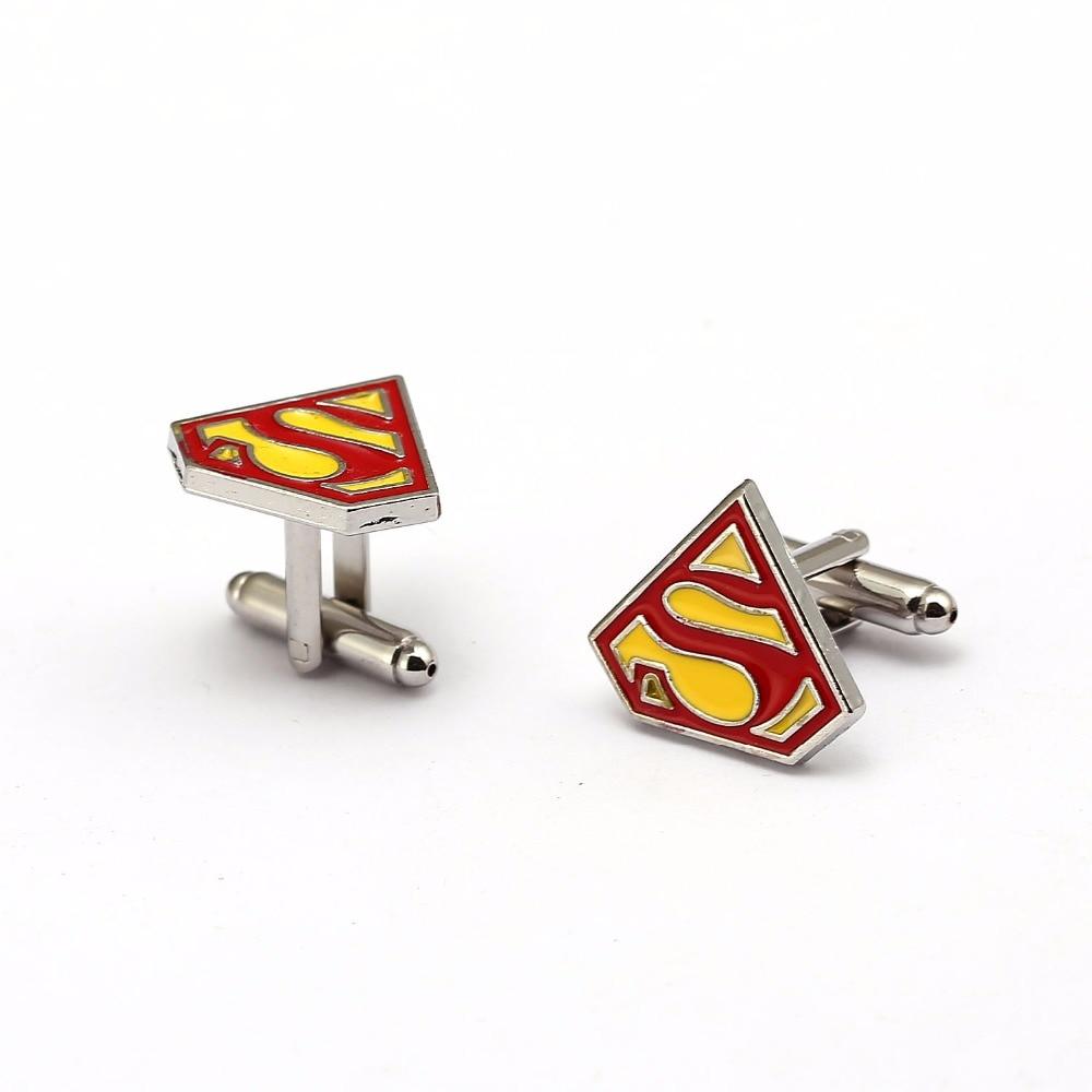 J Store 12pairs/lot Superman Cufflinks S Logo Cuff Button Fashion Superhero Enamel Charm Jewelry Mens Shirt Wedding Cuff Link