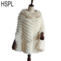 HSPL 2017 Knitted Real Rabbit Fur Poncho With Raccoon Fur Trimming Pashmina Fashion Women Autumn Luxury Real Fur Black Wrap