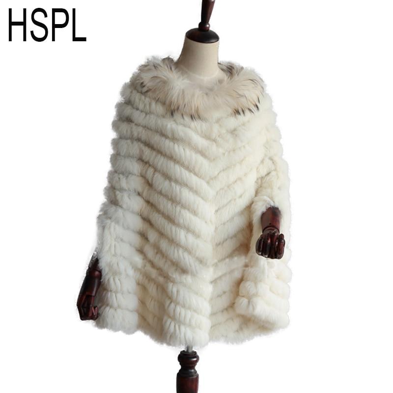 HSPL 2017 трикотажные с натуральным кроличьим мехом пончо отделка мехом енота пашмины Модные женские осенние Роскошные натуральный мех черны