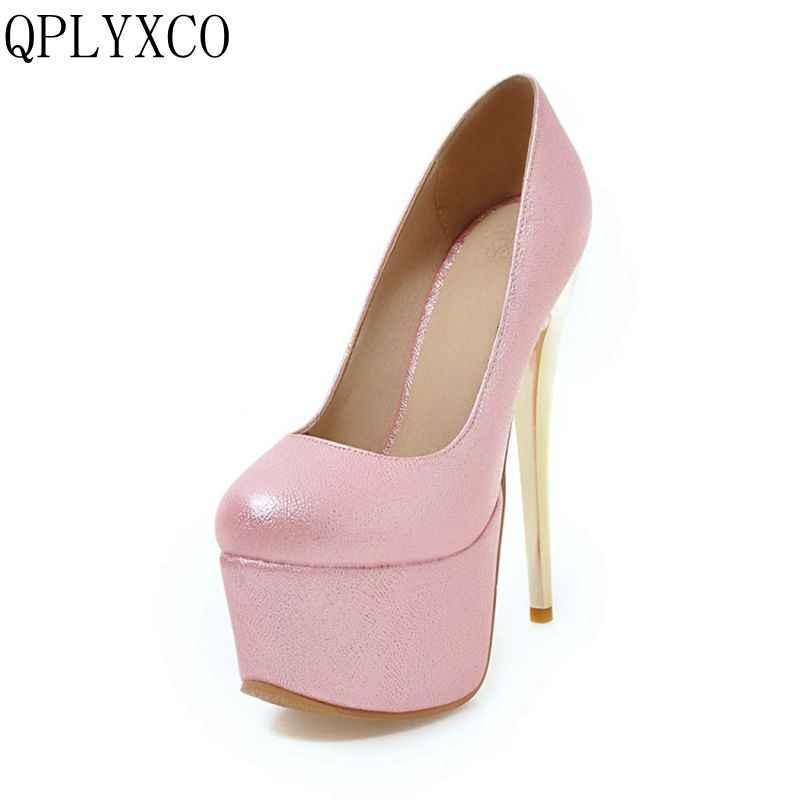 QPLYXCO 2017 sıcak slae Büyük boy 30-48 seksi moda süper ince yüksek topuklu (16 cm) ayakkabı platformu kadın ayakkabı pompaları parti Y-28