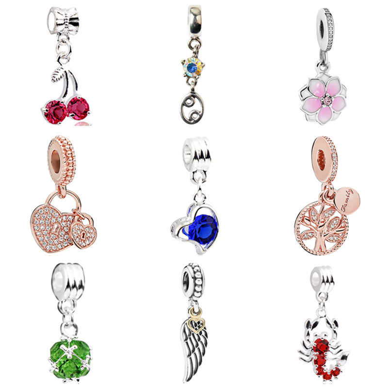 New Fashion Crystal Fish Flower Hamsa Hand Heart Pendants Charms Fit Pandora Bracelets Bangles Making Jewelry Gifts Femme Female