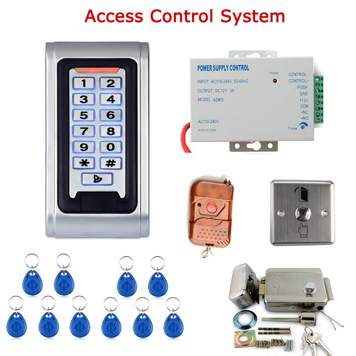 Door Access Control System Kit Electric Door Lock + Power Supply + Door Entry keypad + Remote Controller + Full RFID Reader Card remote control rfid reader access control system full kit set electric strike door lock power supply k2000