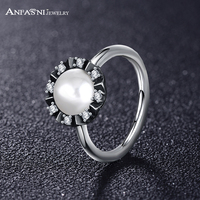 ANFASNI 49 OFF Real 100 925 Sterling Silver Finger Ring With Pearl Clear CZ Wedding Jewelry