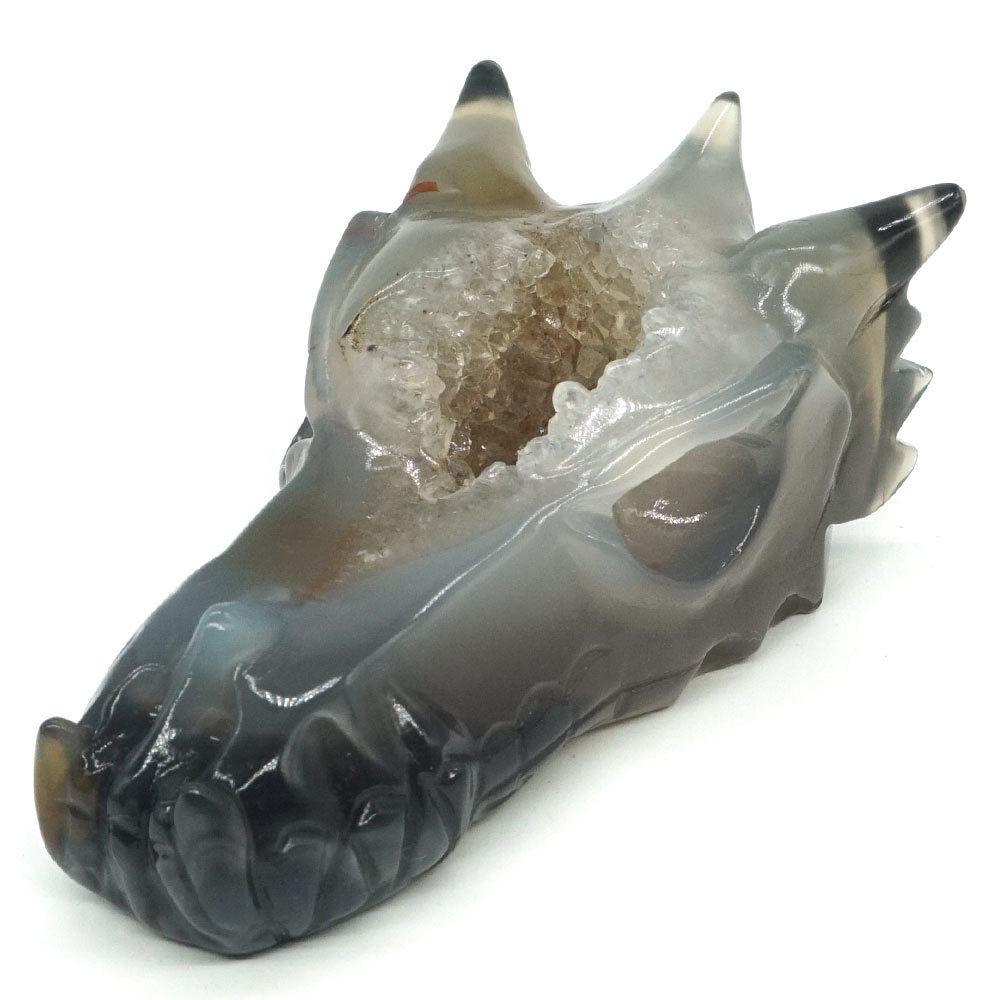 Tête de crâne de Dragon pierre gemme naturelle Agate cristal guérison géode Statue Decor4.25