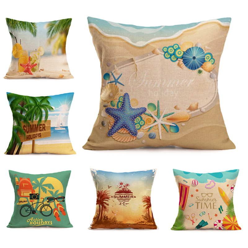 45cm*45cm Summer beach view linen pillow cover sofa cushion cover decorative cushion covers brand pillow for pillow case