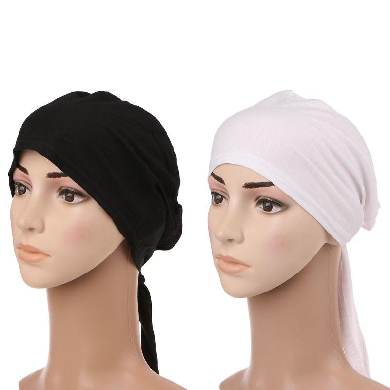 Muslim Hijab Bonnet Cap Headband Soft Cotton Stretchy Anti-Slip Classic Style Solid Black White Color