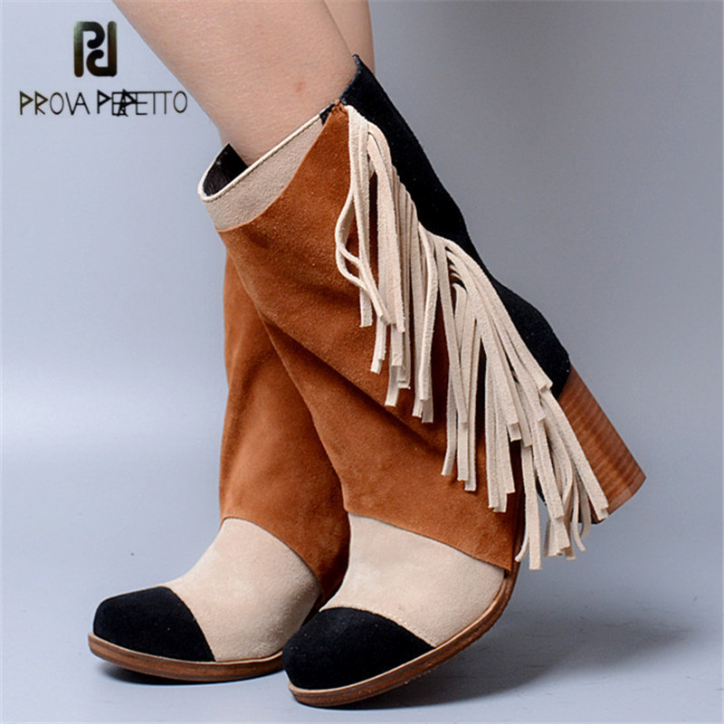 Prova Perfetto Mixed Color Fringed Women High Boots Suede Tassels Chunky High Heel Long Boot Tassels Platform Rubber Botas Mujer