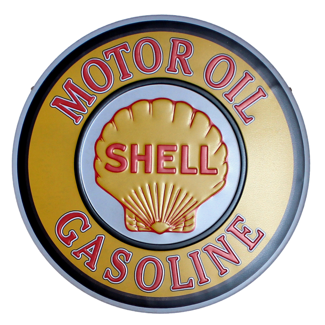 Shell Motor Oil Tin Sign Vintage Lrregular Painting Coffee Bar Wall Art Yxy-156 30cm